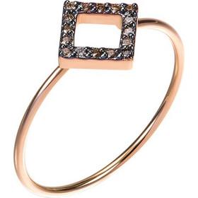 Δαχτυλίδι από ροζ χρυσό 18 καρατίων με γεωμετρικό σχέδιο διακοσμημένο με  καφέ διαμάντια σε επιροδιωμένη επιφάνεια cc4d6b80d4f