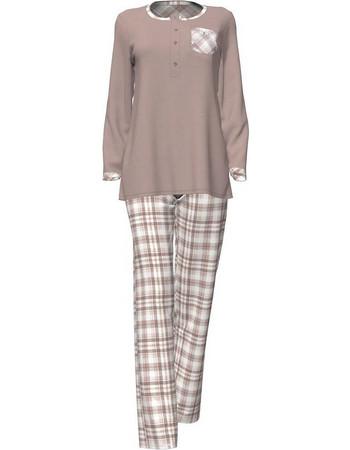 Vamp μόκα χειμωνιάτικη γυναικεία πυτζάμα με καρό παντελόνι modal-βαμβάκι  4713 58a86d05541