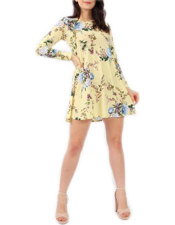 Κίτρινο Φλοράλ Ριχτό Φόρεμα 750207c13db