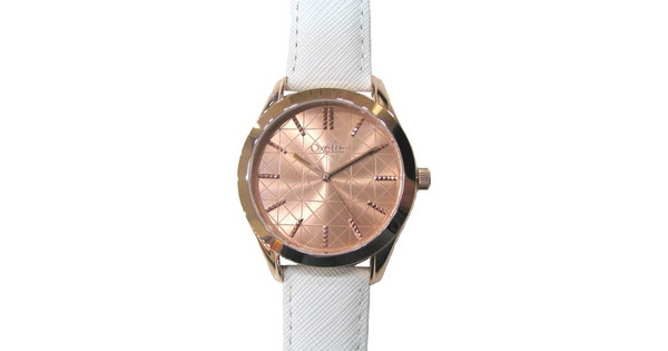 Oxette Rose Gold White Leather Strap 11X65-00108  1587c6a9c62
