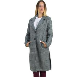 Γυναικείο παλτό καρό ασπρόμαυρο με γιακά και ανοίγματα Cocktail 013905031 b9522dbab82