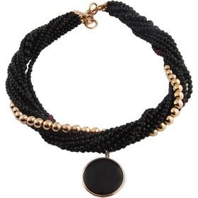 Κολιέ Ασημένιο Oxette Με Επιμετάλλωση Ροζ Χρυσού Με Μαύρες Πέτρες e626abb97c6