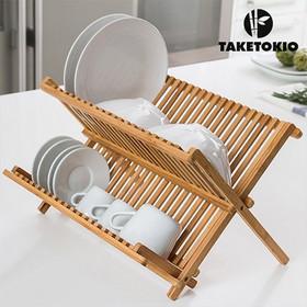 Taketokio Πιατοθήκη Bamboo Πτυσσόμενο Στεγνωτήριο Πιάτων Από Μπαμπού  42x32x26cm 8a8b096db26