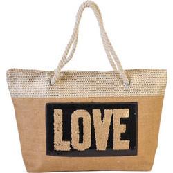 893baeab50f Γυναικεία Τσάντα Θαλάσσης Ψάθα με Παγιέτες, Διαστάσεων 57x16x36 cm σε  Σχέδιο Love - Cb