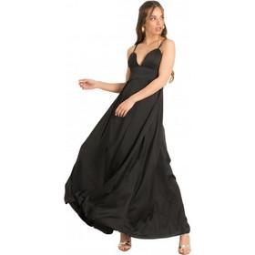 018d568bd765 F22283 Φόρεμα Maxi Satin - ΜΑΥΡΟ 18185
