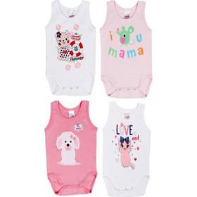 cb03229c032 Φανελάκια βρεφικά κοριτσιών LOVE ΜΑΜΑ 4 τεμάχια (30523) Λευκό-ροζ-φουξ  5206821566113
