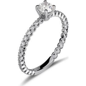 Μονόπετρο δαχτυλίδι από λευκό χρυσό 18 καρατίων με ένα κεντρικό διαμάντι  0.42ct πιστοποιημένο από το 3540dc21268