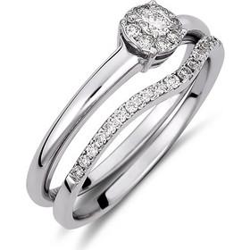Δαχτυλίδι διπλό από λευκό χρυσο 18 καρατίων με illusion μονόπετρο και  μισόβερο με διαμάντια 0.27ct c470c42a8c8