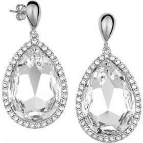 Εντυπωσιακό ζευγάρι σκουλαρίκια σε σχήμα δάκρυ με πέτρες Swarovski από ασήμι 51158ab652a