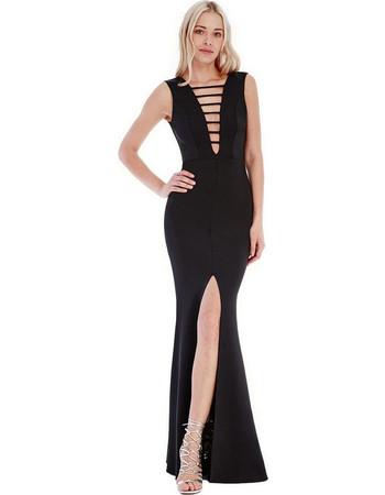 0a145434d3be 9179 GB Μάξι φόρεμα με σκίσιμο και βαθύ ντεκολτέ - μαύρο