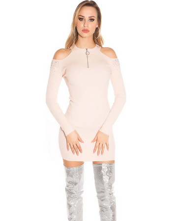 Πλεκτό φόρεμα Cold Shoulder with studs-Pink 1fc0d171bd9