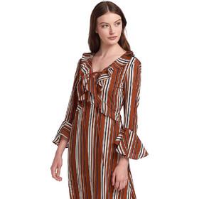 d950da05a143 Maxi ριγέ φόρεμα με βολάν - Καφέ