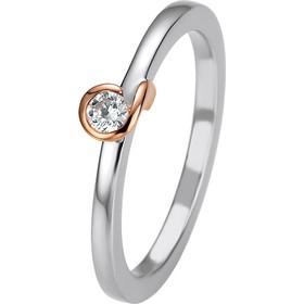 Μονόπετρο δαχτυλίδι δίχρωμο με ρόζ και λευκό χρυσό και διαμάντι κοπής  brilliant 0 0f69f71e5c3
